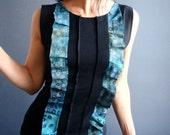 Northern Sky - iheartfink Handmade Hand Printed Womens Unique Wearable Art Print Jersey Sleeveless Ruffle Black Top