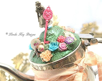 Alice In Wonderland Functional Teapot Silver Shabby Assemblage Tiny Personal Teapot One-of-a-kind Mixed Media Sculpture