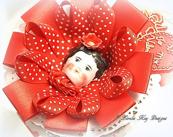 Doll Face Valentine Retro Two Sided Ornament Heart Decoration Red Feather Tree Ornie Lorelie Kay Original