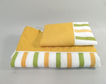 Vintage twin sheets, partial set, flat sheet and pillowcase, mid century modern, green and yellow stripe, striped sheets, Monticello sheets