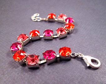 Colorful Crystal Rhinestone and Silver Beaded Bracelet, Hyacinth Fuschia and Pink, Color Mix Bracelet, FREE Shipping U.S.