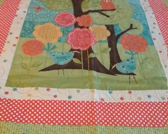 "Owl Baby Quilt Panel Tree Flowers  Pokedots 37""x 40"""