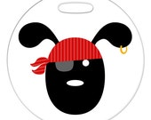 Luggage Tag - Pirate Pup - Round Plastic Bag Tag