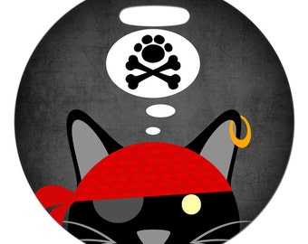 Luggage Tag - Pirate Cat and Crossbones - Round Plastic Bag Tag