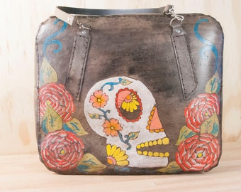 Large Leather Purse - Sugar Skull No. 1 Travel Bag in red, white and antique black - Vintage Stewardess Style Handbag
