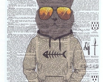 Hipster.Cat.Feline.Cool.antique book page print.sunglasses,stylish.paris.french.gift.child.nursery.den.home deco.art.pet.hoodie.eco.teenager