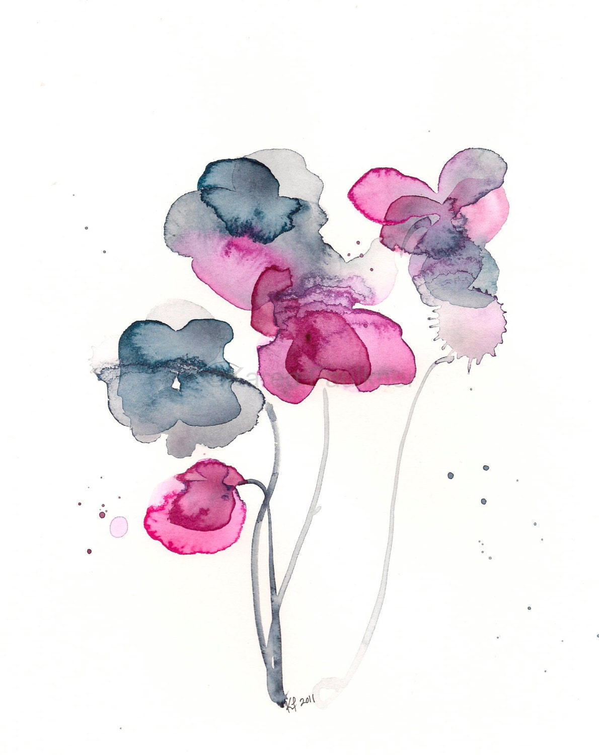 indigo and magenta watercolor flowers print frozen in time