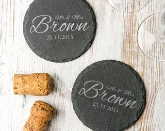 Personalised 'Wedding' Slate Coasters