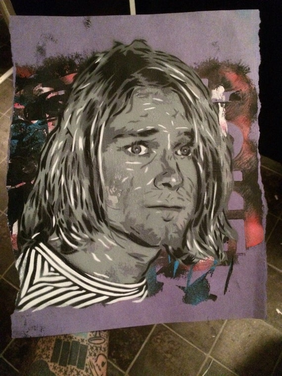 Kurt Cobain spray paint stencil original test spray