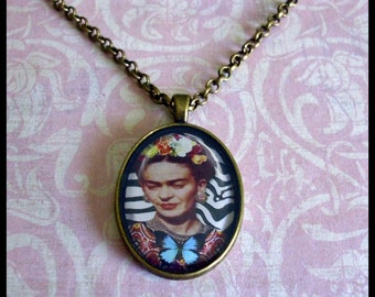 Frida Kahlo, Fly Free...original art pendants, gift boxed, Ready To Ship TODAY,   Frida Kahlo pendants