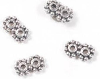 7mm x 4mm x 1mm Antiqued Pewter Daisy Spacer Double Strand Divider Bars (20)