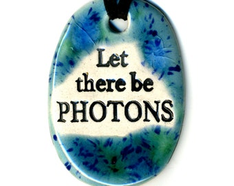Let There Be Photons Ceramic Necklace in Blue