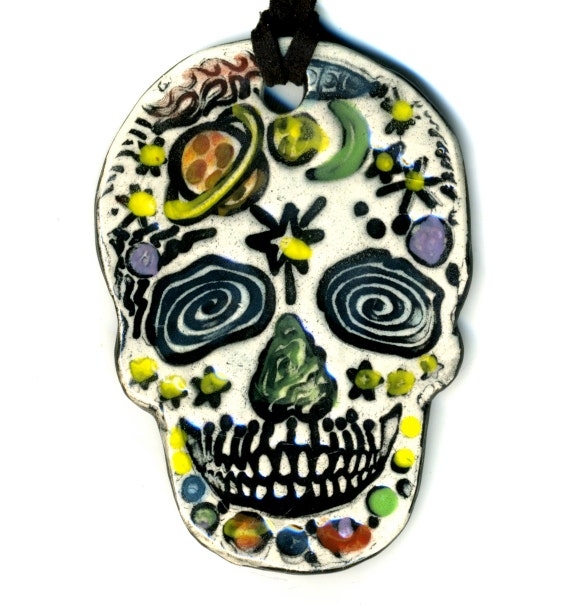 Space day of the dead skull ceramic necklace my sugar skulls for Day of the dead body jewelry