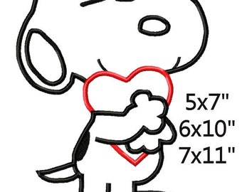 Valentine's Day Dog with Heart Machine Embroidery Applique Pattern 5x7 6x10 7x11 INSTANT DOWNLOAD