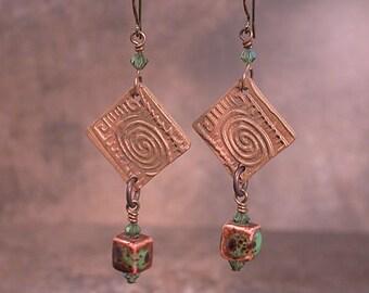 Bronze Metal Clay Dangle Drop Artisan OOAK Earrings with Tribal Pattern Rustic Divine Spark Designs SRA