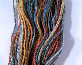 Astral Midnight, handspun washable superwash worsted wool yarn. 86 yds/79 m, 1.1 oz/32 g