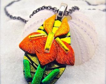 Iris flower jewelry, dichroic glass pendant, iris necklace, Hana Sakura, iris pendant, handcrafted, flower jewelry, glass fusion, statement