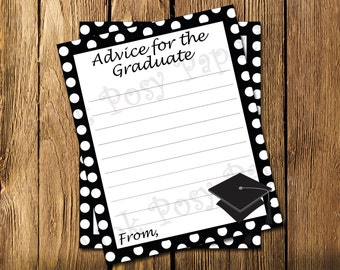 Printable Black Graduate Advice Cards - Instant Download