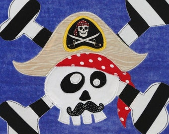Personalized Large Carribean Blue Velour Beach Towel with Pirate with Mustache and Crossbones,Kids Bath Towel,Kids Pool Towel, Camp Towel