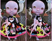 Sugar Skull Tiny BJD Dress for the Circus Kane Cerise BJDs by Tickled Pink by Julie