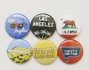6 Los Angeles California Themed 1 inch Button Pin Set