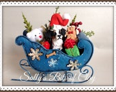 READY to SHIP Bernese Mountain Dog Christmas figure in metal sleigh OOAK sculpture by Sally's Bits of Clay