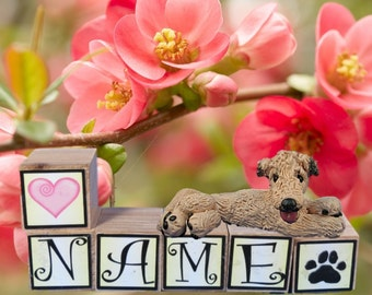 Wheaten Irish Wolfhound dog PERSONALIZED with your dog's name on blocks by Sally's Bits of Clay