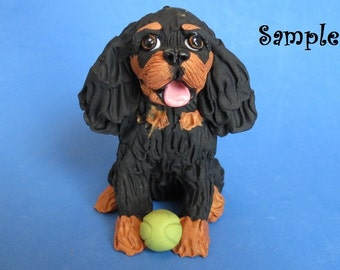 Black and Tan Cavalier King Charles Spaniel Dog sitting with tennis ball OOAK polymer clay art sculpture by Sally's Bits of Clay