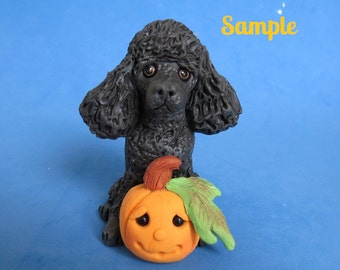 Whimsical Black French Poodle dog with jack-o-lantern ORIGINAL polymer clay OOAK sculpture by Sally's Bits of Clay