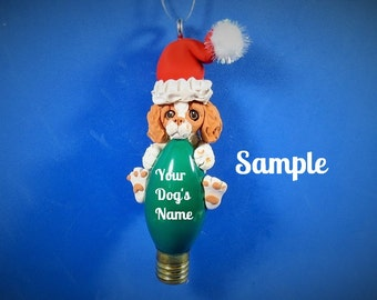 Brittany Spaniel Dog Red / Orange Christmas Ornament by Sally's Bits of Clay personalized free with Dog's name