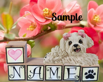 Maltese dog choose your bow color PERSONALIZED with your dog's name on blocks by Sally's Bits of Clay