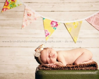 STOREWIDE SALE Bunting Flags, Fabric Banner Pennants, Yellow and Pink Designer's Choice Photography Prop. Ready to Ship. Shabby Chic.