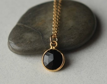 Faceted Black Onyx Necklace, Gold Chain Necklace, Minimal Jewelry, Round Black Onyx Pendant, Geometric Gemstone Necklace