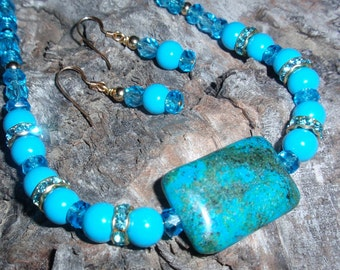Malachite/Azurite Necklace,Turquoise/Aqua,Rhinestone & Earrings Necklace Set