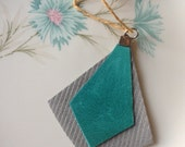 Silver and Teal Diamond Leather Charm  FREE SHIPPING