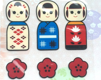 Beautiful Japanese Stickers - Stained Glass Style Stickers - Kokeshi Dolls (S280)