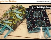 WINTER SALE CUSTOM Made Suck Pads for your Lillebaby in Finches or Celeste with any color minky on back and toy loops