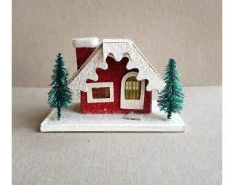 Putz House Ornament - Red House with Trees