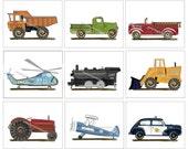 Transportation Art, Boys Vintage room, Truck Art, Car, Firetruck Art, Construction Truck Art, Train Art Prints, Airplane Art,Boys Wall Decor