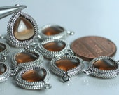 Framed smoky glass drop charm connector, earring componenet, necklace pendant, 2 pcs (item ID G159N03SP)