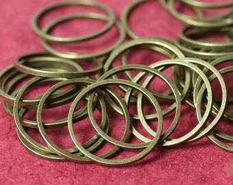 Antique brass circular link connector O ring 18mm outer diameter 1mm (18g) thick, 24 pcs (item ID XMFA00009CCE)