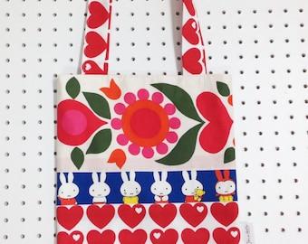 Handmade Scandi Miffy shopper bag by Jane Foster retro modern juvenile fabric Dick Bruna