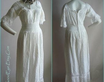 Vintage White Mexican Wedding Dress size 2 4 6  Maxi Small PINTUCK Cotton Sheer Lace Fiesta Party