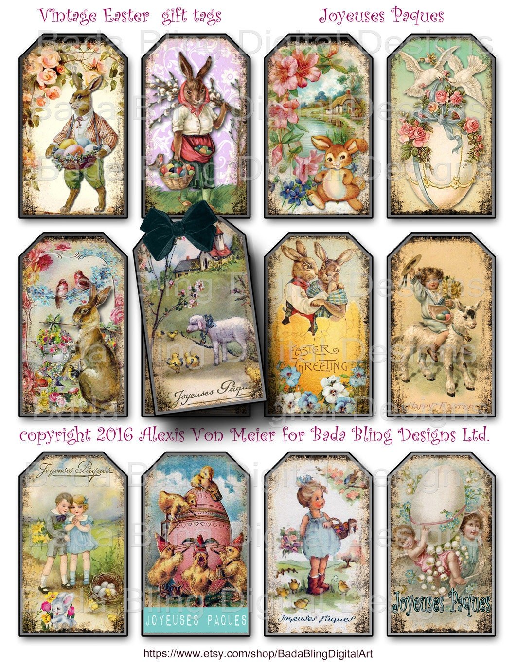 Vintage easter gift tags tag collage sheets instant digital this is a digital file negle Images