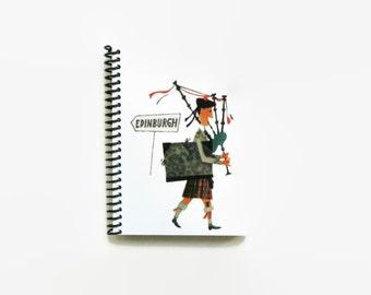 Scottish Piper, Artist Traveler, Blank Notebook, Travel Journal, Writing Journal, Pocket Journal, Sketchbook, 4x6, Notebook, Diary Journal