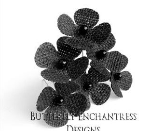 Rustic Wedding Flowers, Woodland Burlap Hair Accessories, Bridesmaid Gift - 6 Black Burlap Hydrangea Flower Hair Pins