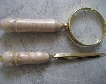 Magnifying Glass and Letter Opener Set (Birdseye Maple)