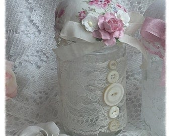 Altered Jar Pin Cushion Shabby Chic Roses Pinks Creams ECS svfteam