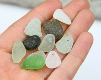 Drilled sea glass - Bulk sea glass - Sea glass crafts - Beach glass for jewelry making -  Sea glass Charms - Jewlery making - Supplies
