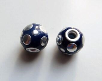 13mm Round Blue Polka Dot Beads, Lightweight Beads - Matching Pair